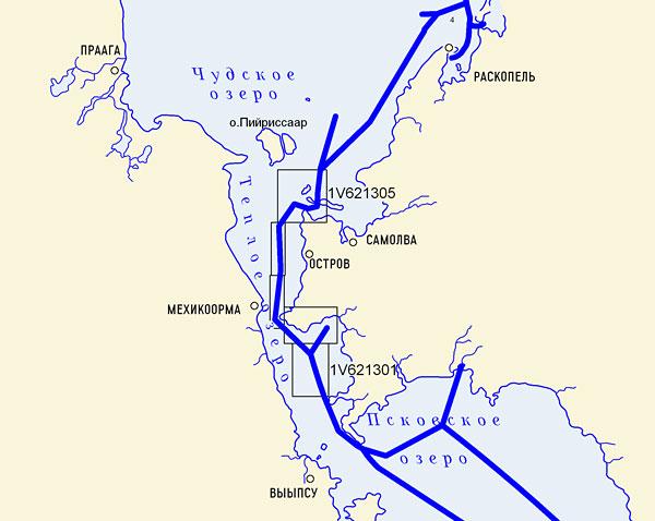 и южное Псковское озеро.