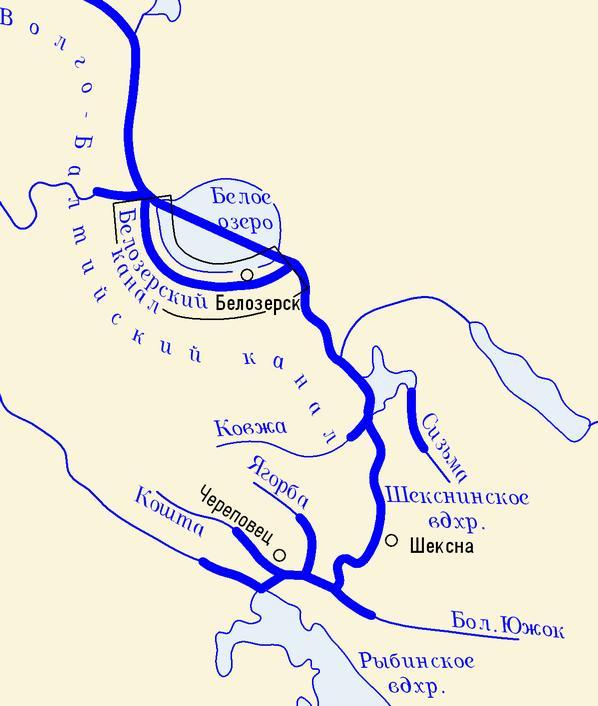 Карта охватывает Белозерский