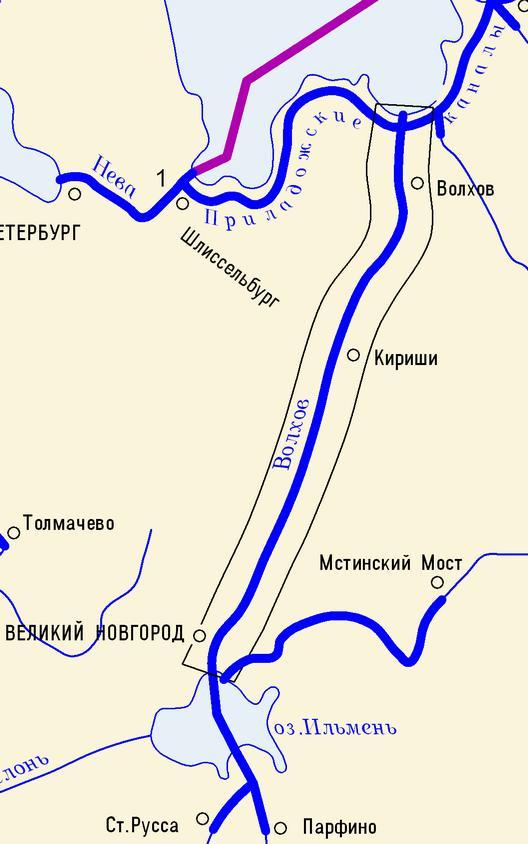 Карта охватывает реку Волхов