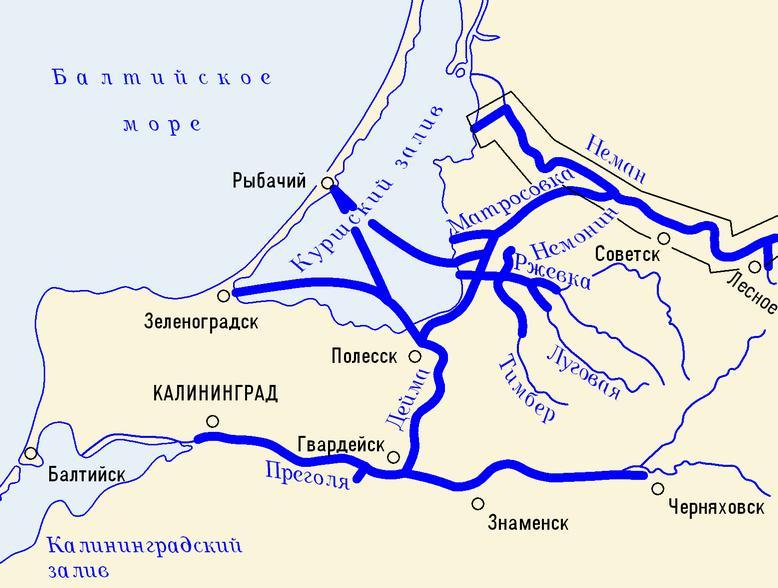 Карта охватывает реку Неман от